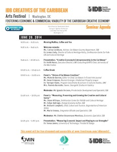 IDB CREATIVES OF THE CARIBBEAN OFFICIAL SEMINAR AGENDA _Page_1